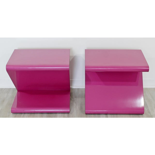 1980s Contemporary Modern of Acrylic Z Shaped Side End Tables 1980s Pink - a Pair For Sale - Image 5 of 11