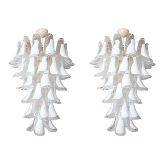 Pair of White Mid Century Modern Murano Glass Chandeliers, by Mazzega, 1970s For Sale