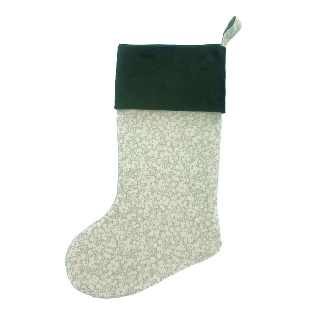Not Yet Made - Made To Order Liberty of London Sage Wiltshire Christmas Stocking with Velvet Cuff For Sale - Image 5 of 5