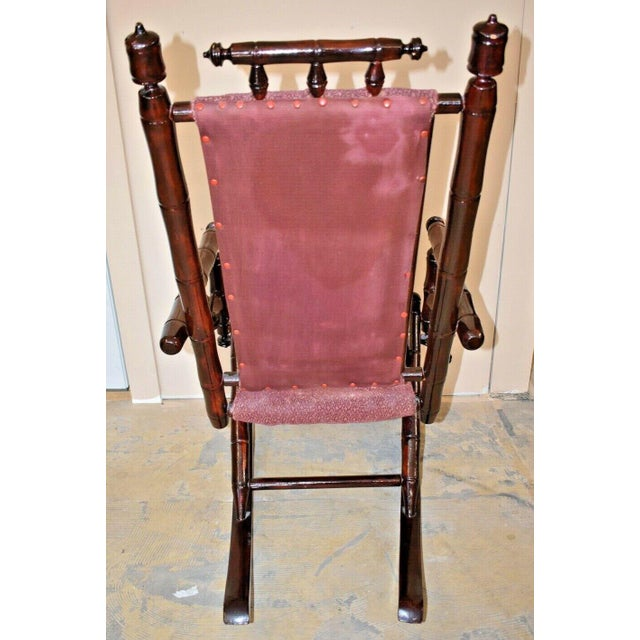 Vintage Faux Bamboo Rocking Chair With Mahogany Finish and Maroon Upholstery For Sale - Image 6 of 10