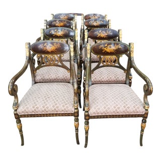 Beautiful Set of Eight Regency Style Armchairs For Sale