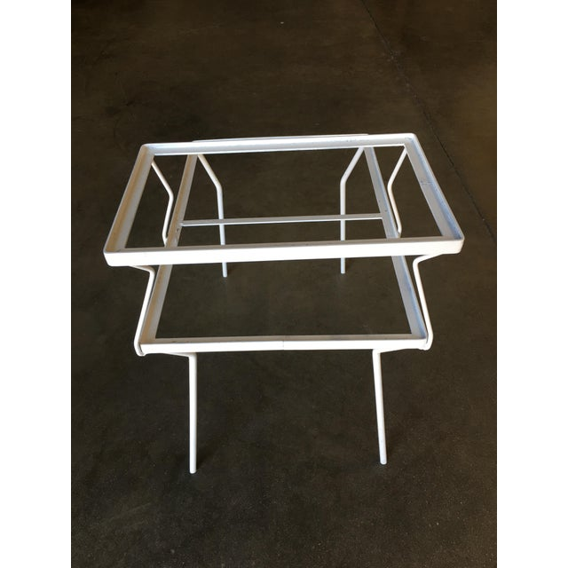 Metal Two-Tier Art Deco Glass Top Outdoor/Patio Side Tables by Woodard - a Pair For Sale - Image 7 of 8