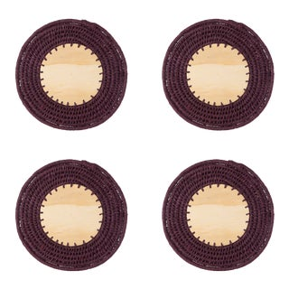 Round Sisal & Wood Solid Coasters in Eggplant - Set of 4 For Sale