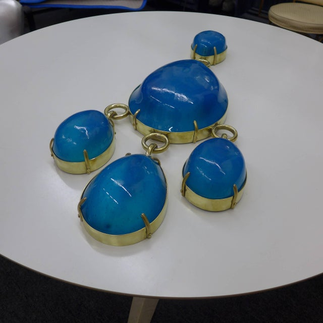 Pair of Large-Scale Aquamarine Sconces For Sale - Image 4 of 5