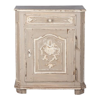 18th Century Antique Louis XIV Painted Oak Confiturier Cabinet For Sale