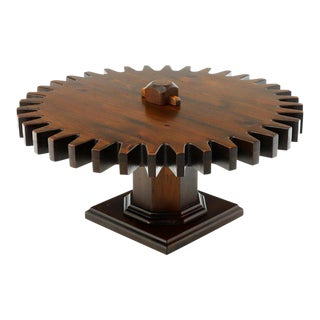 Thick Wooden Huge Round Gear Shape Top Coffee Table For Sale