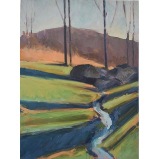"""December Creek"" Contemporary Figurative Landscape Oil Painting by Christen Yates For Sale"
