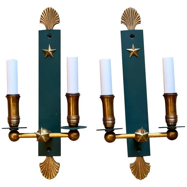 Pair of French Modern Wall Sconces, in the Style of Adnet For Sale - Image 9 of 9