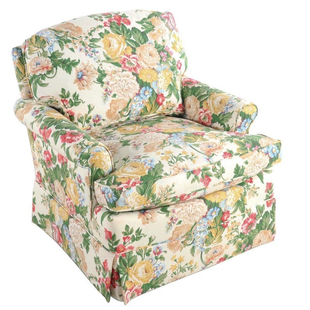 Floral Club Chair - New Upholstery (Vintage Fabric) For Sale - Image 13 of 13