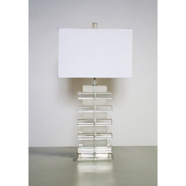White Stacked Lucite Table Lamp For Sale - Image 8 of 8