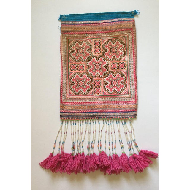 Vintage Needlepoint Pink Beaded Pom Pom Thai Textile - Image 3 of 7