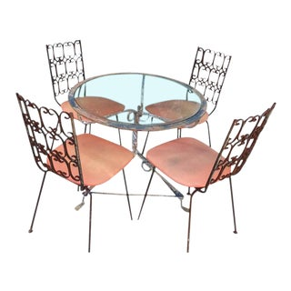Arthur Umanoff Granada Pink Wrought Iron Chairs & Table For Sale