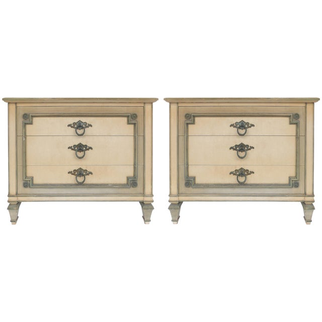 John Widdicomb Hand Painted Night Tables With Drawers, Pair For Sale