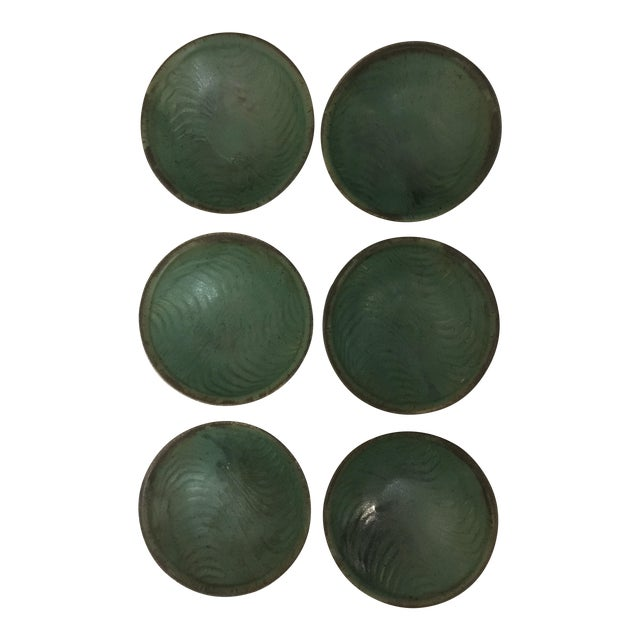 1980s Contemporary Handcrafted Green Ceramic Bowls - Set of 6 For Sale
