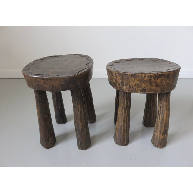 Wood 1950s French Brutalist Mid-Century Stools - a Pair For Sale - Image 7 of 7