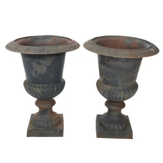 Victorian Style Cast Iron Urns- A Pair For Sale