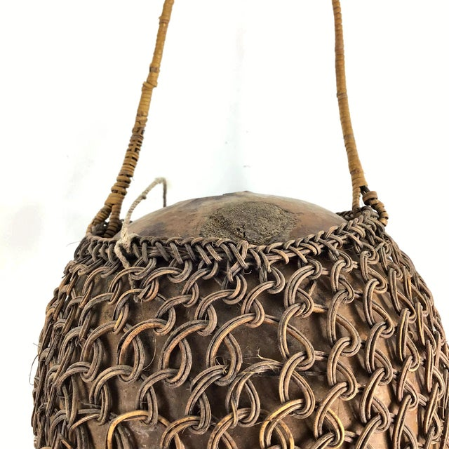 Brown Primitive Javanese Hand Woven Covered Gourd Container For Sale - Image 8 of 11