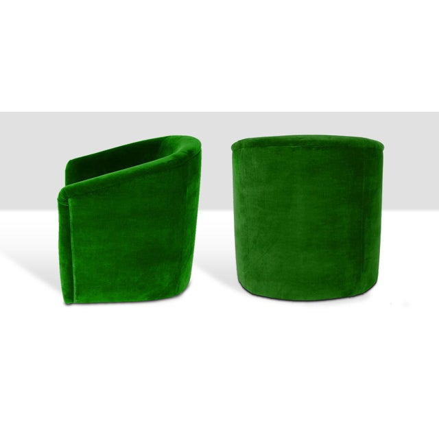 Stunning pair of stately barrel style tub chairs - newly upholstered in a hardy cotton emerald plush velvet.