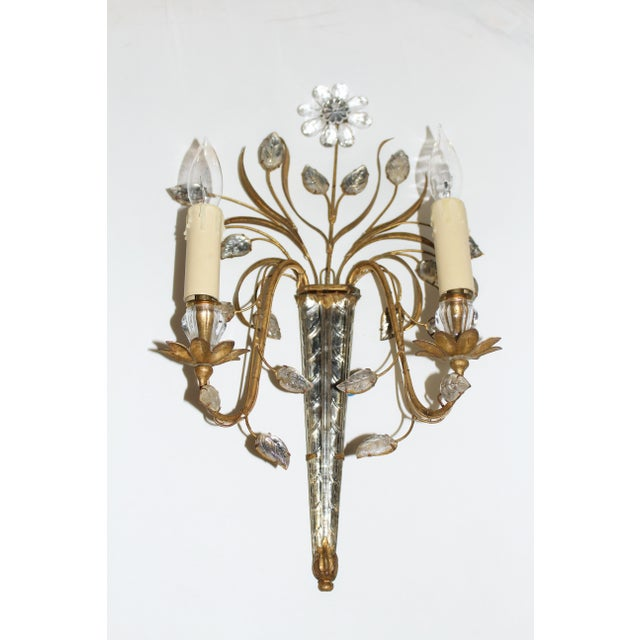 French Mid Century French Glass & Gilt Metal Icicle Sconces - a Pair For Sale - Image 3 of 7