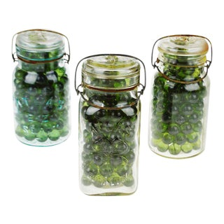 Green Glass Ingots in Early Mason Style Jars - Set of 3 For Sale