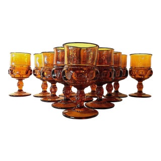 Mid-Century Amber Glass Goblets - Set of 12 For Sale