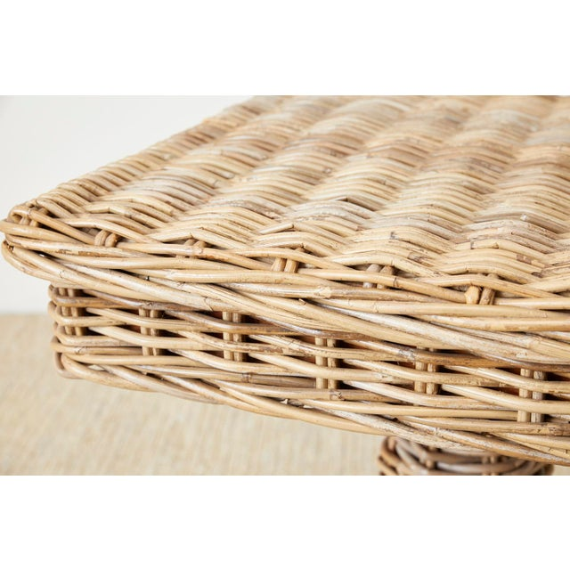 Woven Wicker and Rattan Pedestal Center Table For Sale - Image 10 of 13