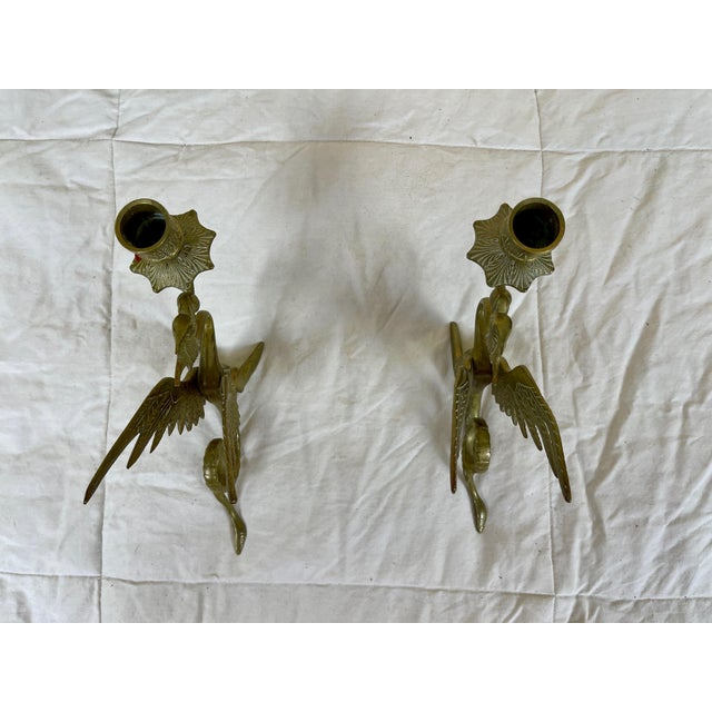 Brass Early 20th Century Brass Dragon/Griffin Form Candle Holders - a Pair For Sale - Image 8 of 10