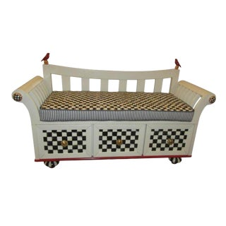 Mackenzie-Childs Courtly Check Bench For Sale