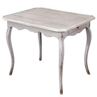 19th c. Louis XV Grey Painted Table For Sale