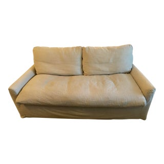 Transitional Restoration Hardware Revello Sand Linen Upholstered Sofa For Sale