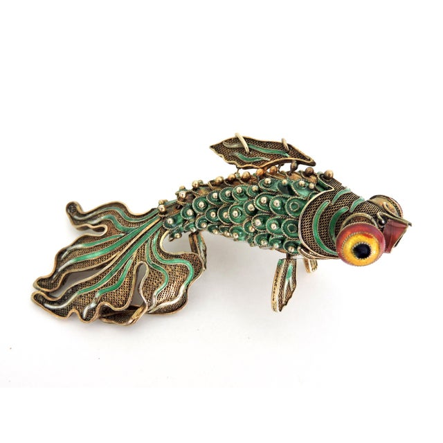 Antique Chinese Green Enamel Reticulated Silver Goldfish For Sale In Tampa - Image 6 of 6