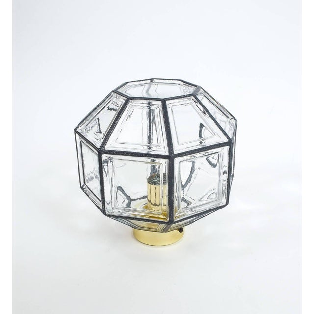 Beautiful set of 3 clear glass ceiling lights by Limburg, Germany in excellent condition. Octagonal shaped lantern with...