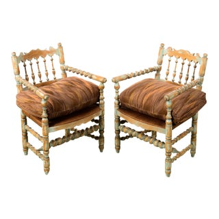 19th century Antique Farm Arm Chairs w/Carved Spindles-A pair For Sale
