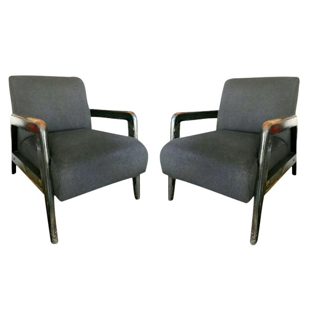 Mid-Century Cashmere Lounge Chairs - A Pair - Image 1 of 5