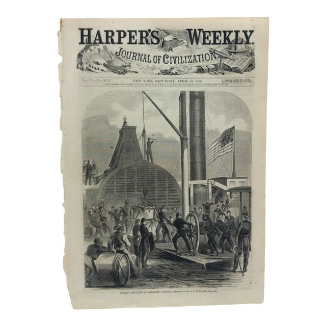 "1862 Antique ""Shipping Artillery at Alexandria Virginia"" The Harper's Weekly Print For Sale"