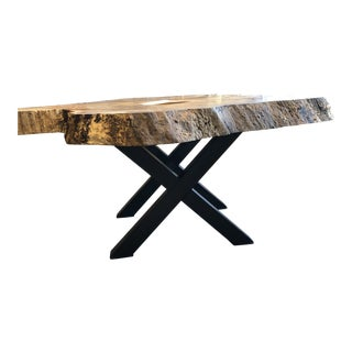 Organic Modern Live Edge Maple Burl Coffee Table For Sale