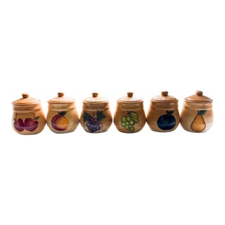 1980s Vintage Glassware Kitchen Jars With Painted Various Fruits - Set of 6 For Sale