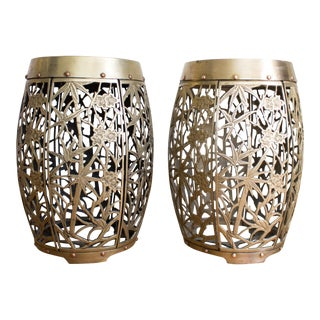 Brass Asian / Chinosiere Stools with Reticulated Fretwork Bamboo Motif - a Pair