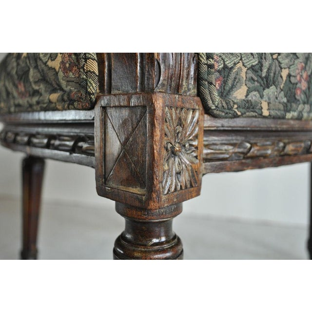 Brown Vintage French Louis XVI Style Carved Walnut Fireside Arm Chair Fauteuil For Sale - Image 8 of 11