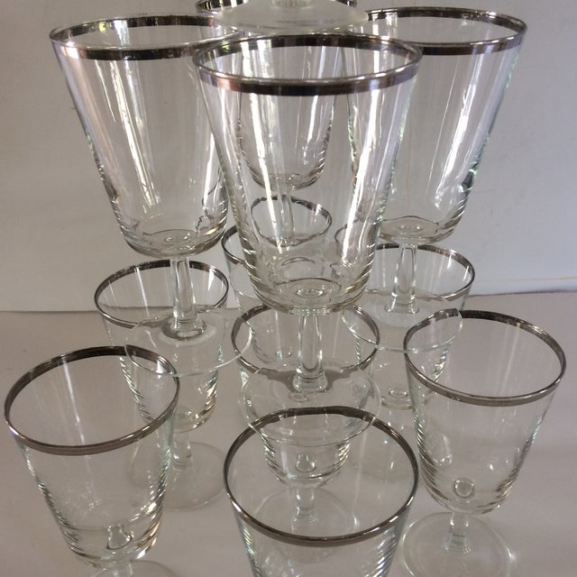 1960s French Platinum Rim Crystal Cocktail /Water Glasses - Set of 12 For Sale - Image 5 of 11