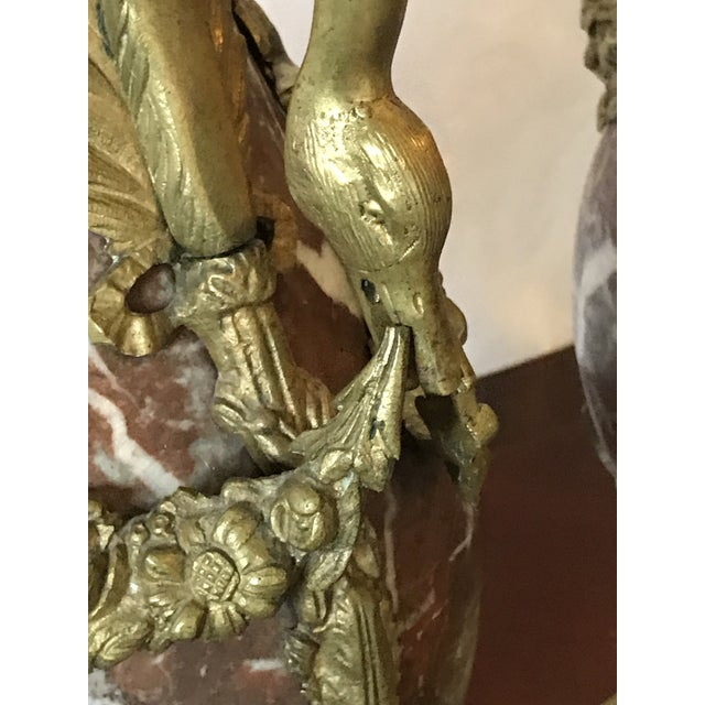 Marble and Bronze Gilt Urns with Bronze Mounts - a Pair For Sale - Image 12 of 13