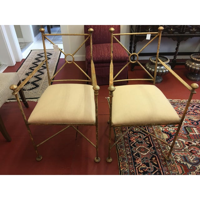 Vintage Gilt Iron Chairs - A Pair - Image 8 of 8