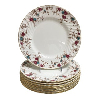 Minton English Swirl Edge Red and Turquoise Floral Dinner Plates - Set of 9 For Sale