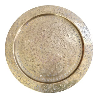 Small Vintage Brass Etched Tray For Sale