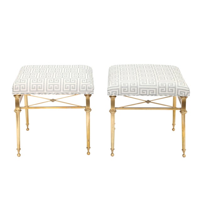 Pair of Brass Stools For Sale