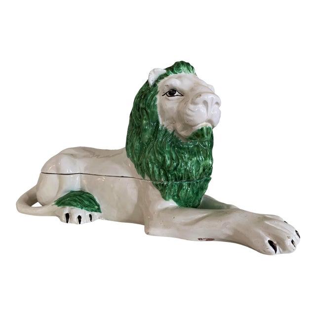 Mid-Century Italian Ceramic Lion Lidded Catchall For Sale
