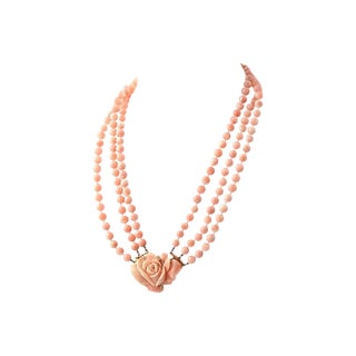 Angel Skin Coral Triple Strand Necklace For Sale