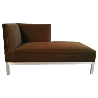 Modernist Aluminum and Velvet Chaise Lounge For Sale