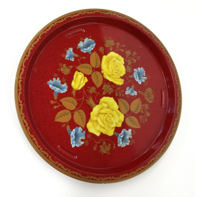 Vintage Red Metal Floral Tray - Image 2 of 9