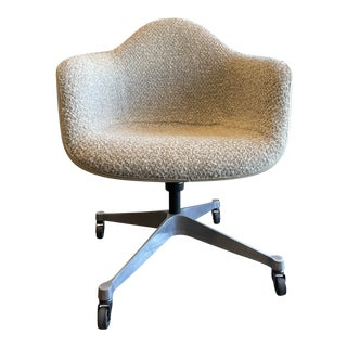 Eames Task Rolling Armchair Reupholstered in Boucle For Sale